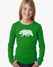 Load image into Gallery viewer, LA Pop Art Girl's Word Art Long Sleeve - California Bear