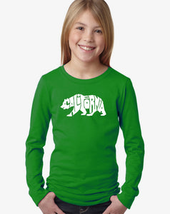 LA Pop Art Girl's Word Art Long Sleeve - California Bear