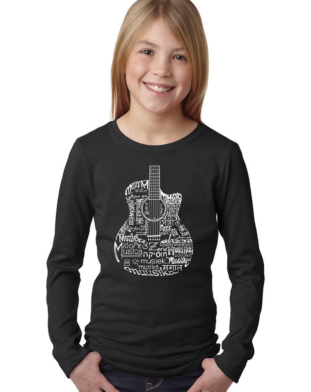 LA Pop Art Girl's Word Art Long Sleeve - Languages Guitar