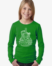 Load image into Gallery viewer, LA Pop Art Girl's Word Art Long Sleeve - Languages Guitar