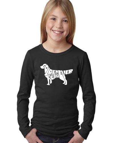 LA Pop Art Girl's Word Art Long Sleeve - Golden Retreiver