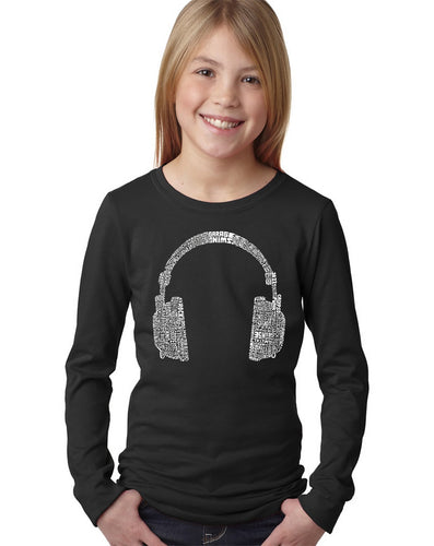 LA Pop Art Girl's Word Art Long Sleeve - 63 DIFFERENT GENRES OF MUSIC