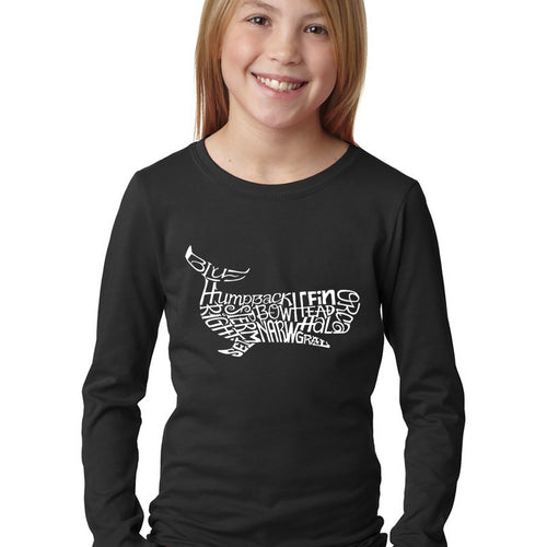LA Pop Art Girl's Word Art Long Sleeve - Humpback Whale
