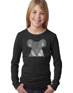 LA Pop Art Girl's Word Art Long Sleeve - Koala