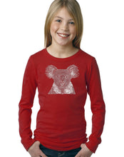 Load image into Gallery viewer, LA Pop Art Girl's Word Art Long Sleeve - Koala