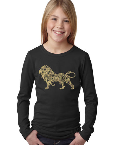 LA Pop Art Girl's Word Art Long Sleeve - Lion