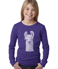 Load image into Gallery viewer, LA Pop Art Girl's Word Art Long Sleeve - Llama