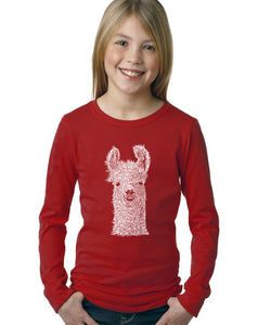 LA Pop Art Girl's Word Art Long Sleeve - Llama