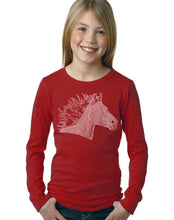 Load image into Gallery viewer, LA Pop Art Girl's Word Art Long Sleeve - Horse Mane