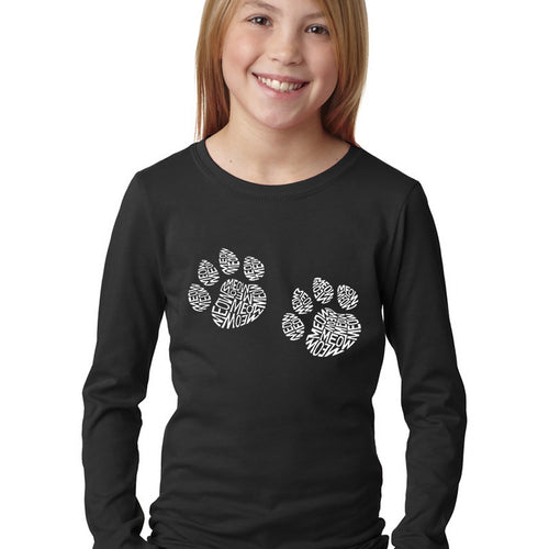 LA Pop Art Girl's Word Art Long Sleeve - Meow Cat Prints