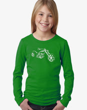 Load image into Gallery viewer, LA Pop Art Girl's Word Art Long Sleeve - MOTORCYCLE