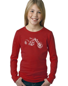 LA Pop Art Girl's Word Art Long Sleeve - MOTORCYCLE