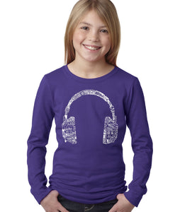 LA Pop Art Girl's Word Art Long Sleeve - HEADPHONES - LANGUAGES