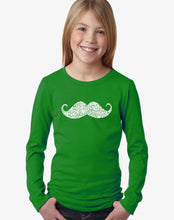 Load image into Gallery viewer, LA Pop Art Girl's Word Art Long Sleeve - WAYS TO STYLE A MOUSTACHE