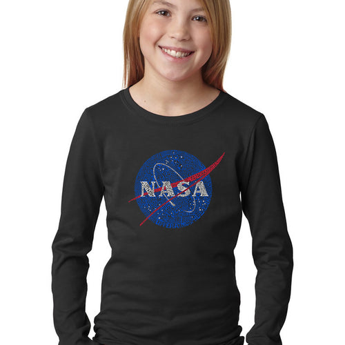 LA Pop Art Girl's Word Art Long Sleeve - NASA's Most Notable Missions