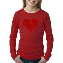 Load image into Gallery viewer, LA Pop Art Girl's Word Art Long Sleeve - All You Need Is Love