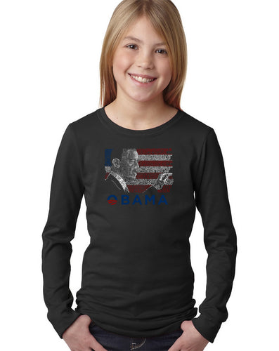 LA Pop Art Girl's Word Art Long Sleeve - BARACK OBAMA - ALL LYRICS TO AMERICA THE BEAUTIFUL