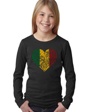 Load image into Gallery viewer, LA Pop Art Girl's Word Art Long Sleeve - One Love Heart