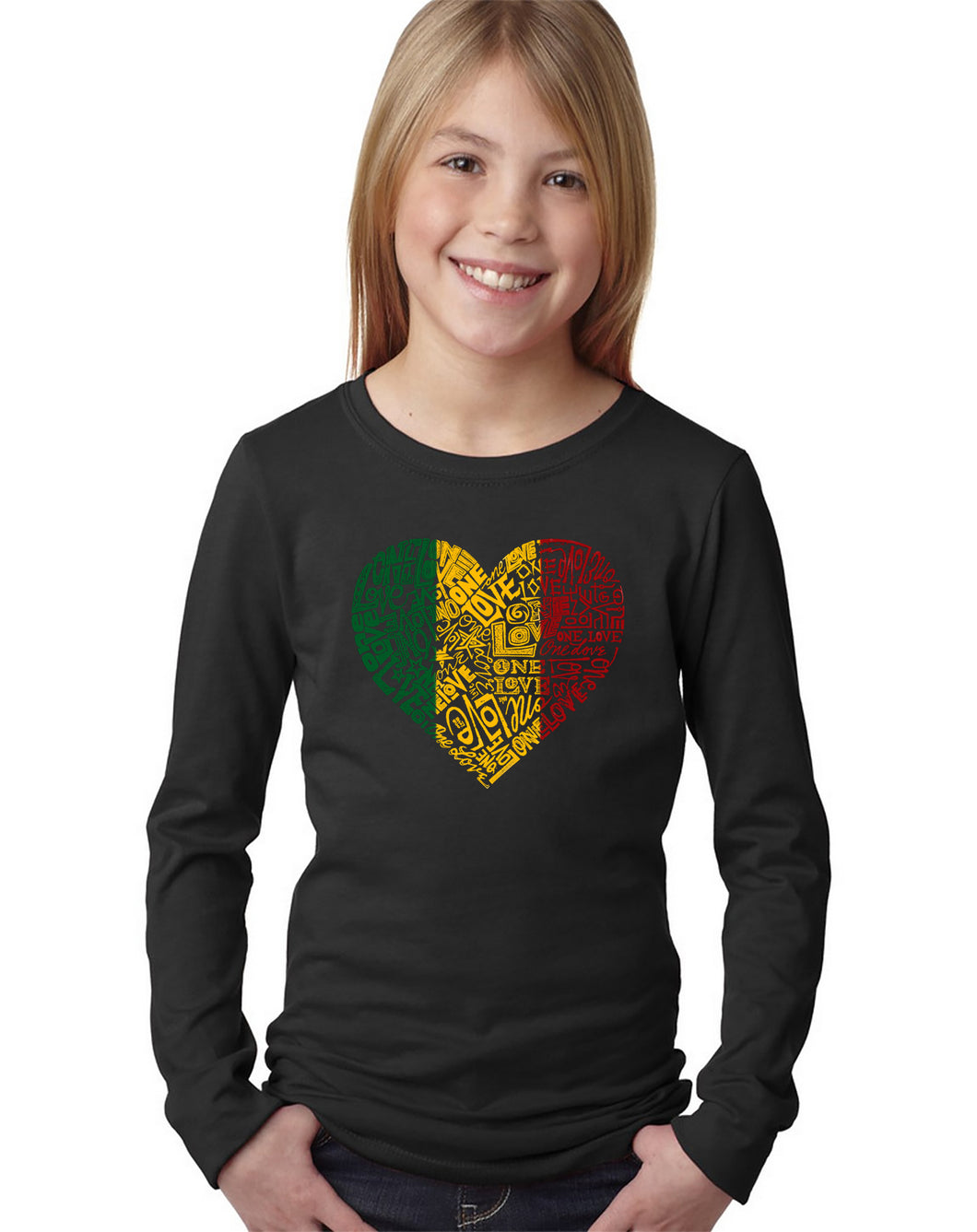 LA Pop Art Girl's Word Art Long Sleeve - One Love Heart