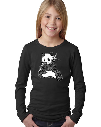 LA Pop Art Girl's Word Art Long Sleeve - ENDANGERED SPECIES