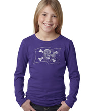 Load image into Gallery viewer, LA Pop Art Girl's Word Art Long Sleeve - FAMOUS PIRATE CAPTAINS AND SHIPS