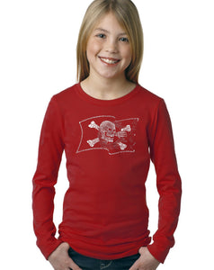 LA Pop Art Girl's Word Art Long Sleeve - FAMOUS PIRATE CAPTAINS AND SHIPS