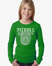 Load image into Gallery viewer, LA Pop Art Girl's Word Art Long Sleeve - Pitbull Face
