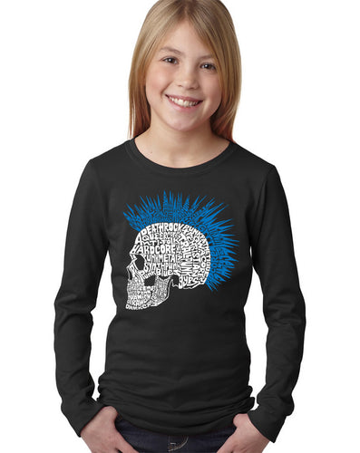 LA Pop Art Girl's Word Art Long Sleeve - Punk Mohawk