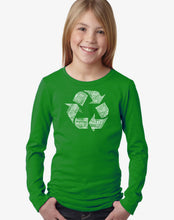 Load image into Gallery viewer, LA Pop Art Girl's Word Art Long Sleeve - 86 RECYCLABLE PRODUCTS