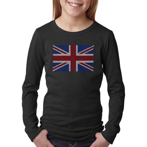 LA Pop Art Girl's Word Art Long Sleeve - God Save The Queen
