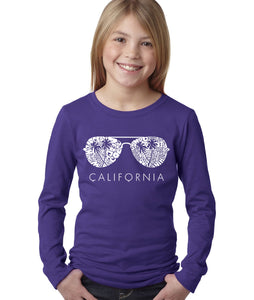 LA Pop Art Girl's Word Art Long Sleeve - California Shades