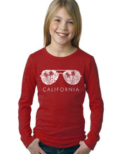 Load image into Gallery viewer, LA Pop Art Girl's Word Art Long Sleeve - California Shades