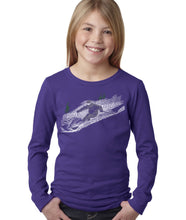 Load image into Gallery viewer, LA Pop Art Girl's Word Art Long Sleeve - Ski