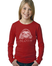 Load image into Gallery viewer, LA Pop Art Girl's Word Art Long Sleeve - Sloth