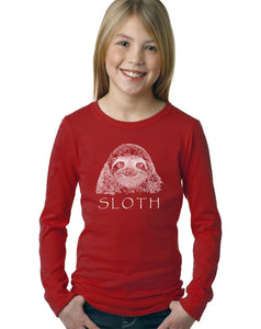 Limited Supply - LA Pop Art Girl's Word Art Long Sleeve - Sloth