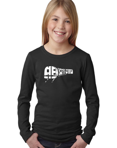 LA Pop Art Girl's Word Art Long Sleeve - NY SUBWAY