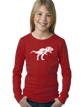 Load image into Gallery viewer, LA Pop Art Girl's Word Art Long Sleeve - TYRANNOSAURUS REX