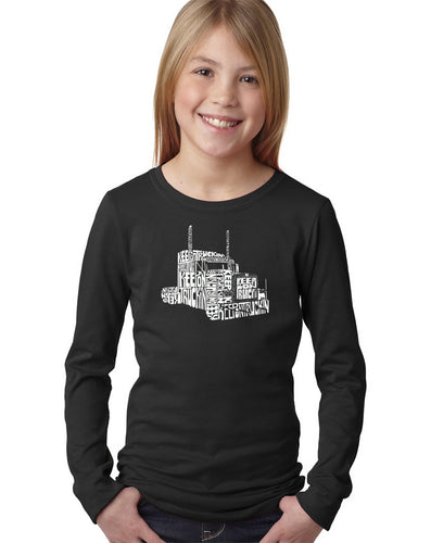 LA Pop Art Girl's Word Art Long Sleeve - KEEP ON TRUCKIN'