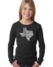 Load image into Gallery viewer, LA Pop Art Girl's Word Art Long Sleeve - The Great State of Texas