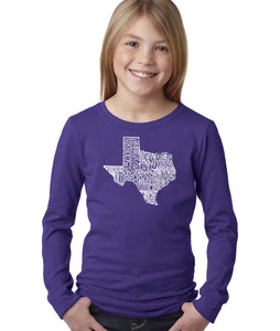 LA Pop Art Girl's Word Art Long Sleeve - The Great State of Texas