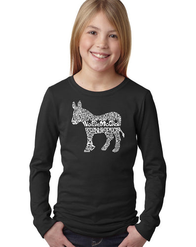 LA Pop Art Girl's Word Art Long Sleeve - I Vote Democrat