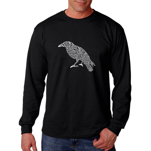 LA Pop Art  Men's Word Art Long Sleeve T-shirt - Edgar Allan Poe's The Raven