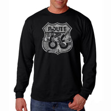 Load image into Gallery viewer, LA Pop Art Men's Word Art Long Sleeve T-shirt - Stops Along Route 66