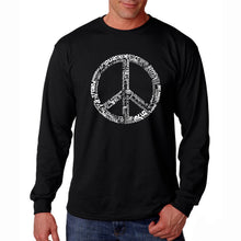 Load image into Gallery viewer, LA Pop Art Men's Word Art Long Sleeve T-shirt - THE WORD PEACE IN 77 LANGUAGES