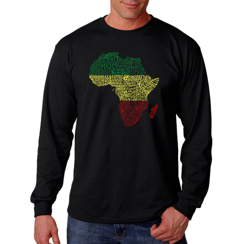 LA Pop Art Men's Word Art Long Sleeve T-shirt - Countries in Africa