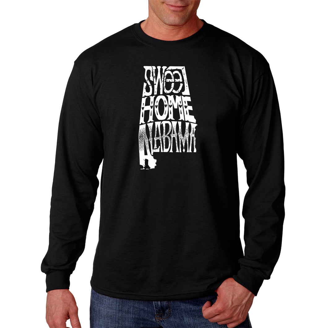 LA Pop Art Men's Word Art Long Sleeve T-shirt - Sweet Home Alabama