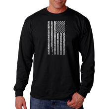 Load image into Gallery viewer, LA Pop Art Men's Word Art Long Sleeve T-shirt - National Anthem Flag