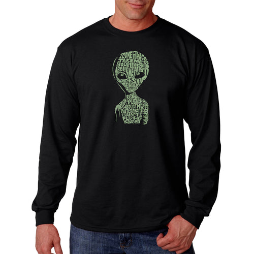 LA Pop Art Men's Word Art Long Sleeve T-shirt - Alien