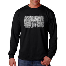 Load image into Gallery viewer, LA Pop Art Men's Word Art Long Sleeve T-shirt - Brooklyn Bridge