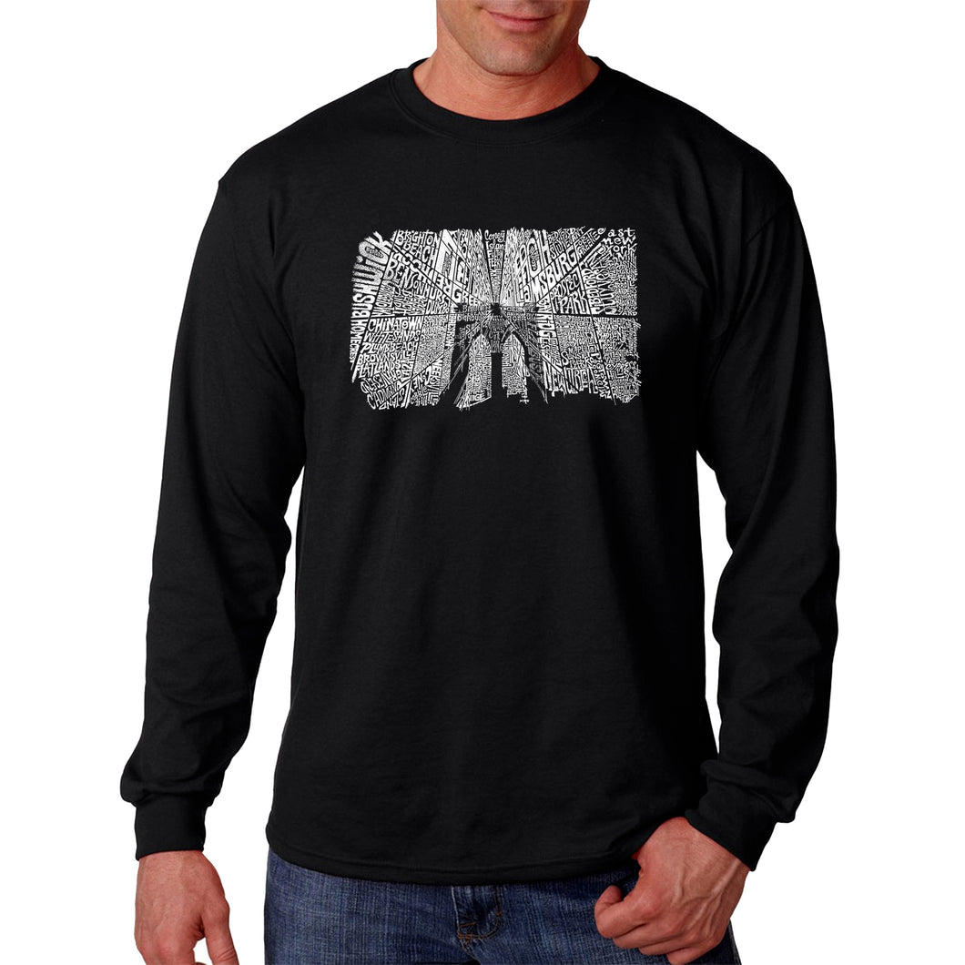 LA Pop Art Men's Word Art Long Sleeve T-shirt - Brooklyn Bridge